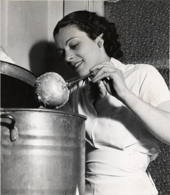Aug 12 1937 Helen Kurtz serving food in a soup kitchen for striking 5 & 10 cent store workersAAD-5374.jpg