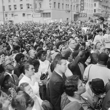 Crowd Rallies for Birmingham Bombing Protests -- Post Office Building Sept 18 1963 Bancroft FID35.jpg