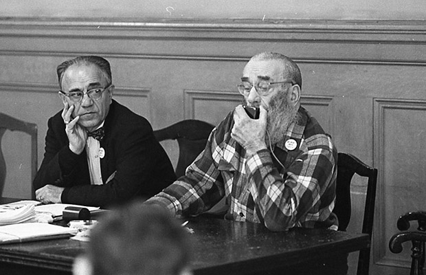 George Woolf (right) and Peter Mendelsohn (left) on panel at a meeting of Tenants and Owners in Opposition to Redevelopment (TOOR) at Milner Hotel, 117 4th Street Dec 1970 TOR-0127.jpg