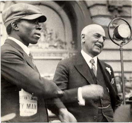Rossi with Henry Shepherd speaking for unemployed 1931 AAF-0598.jpg