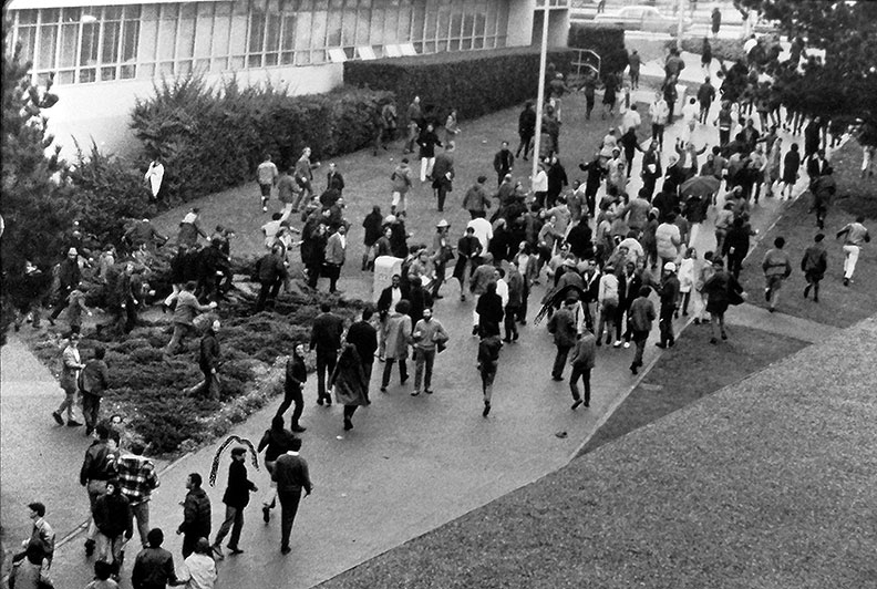 Sfsu-strike-crowd-on-entry-path drescher.jpg