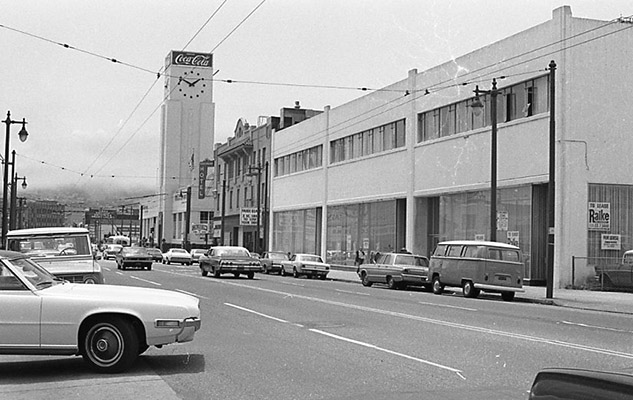 Mission Street looking west toward 11th Street, Sherman Hotel and Coca-Cola plant on corners June 10 1971 TOR-0245.jpg