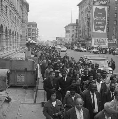 Crowd protesting Birmingham bombing on 7th looking towards Mission, 1963 FID40.jpg