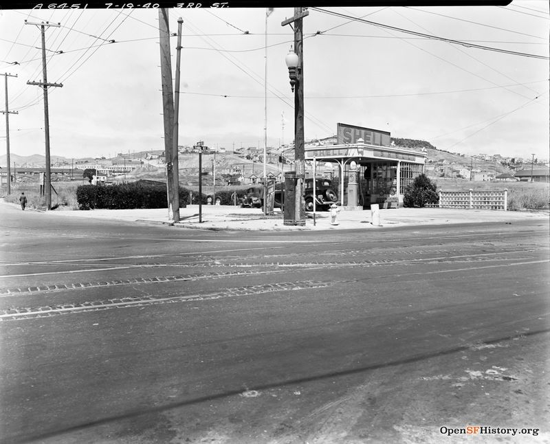 July 19 1940 Shell Gas Station at the corner of 3rd Street and 24th. Potrero Hill in the background. DPW A6451 wnp26.089.jpg