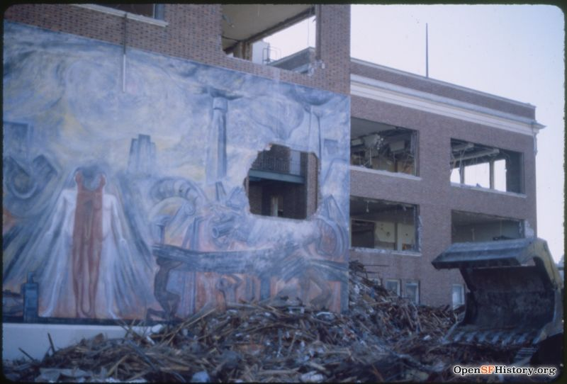Cogswell College, 3000 Folsom St., During demolition, Cogswell College, Folsom and 26th St Oct 1984 wnp32.3392.jpg