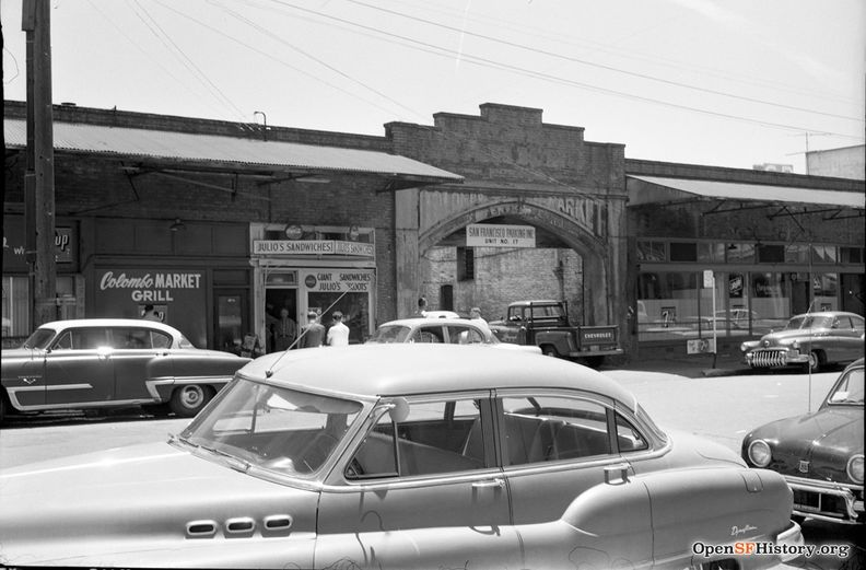 1959 Golden Gateway site, Sydney G. Walton Square; Columbo Market Arch, Front between Jackson and Pacific, Produce District wnp28.2474.jpg
