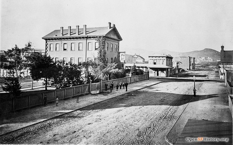 15th and Mission 1868 View west 15th Street from Mission, Corona Heights in background. Large brick building is the State Asylum for the Blind and Deaf, southeast corner of 15th and Mission wnp26.1107.jpg