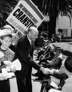 Alan Cranston running for Senate in 1964, here greeting prospective voters in Union Square' Photo: San Francisco History Center, SF Public Library